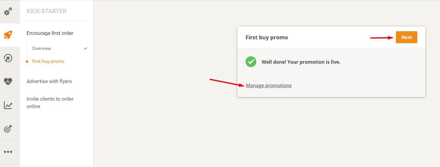 online promotion examples: first buy promo