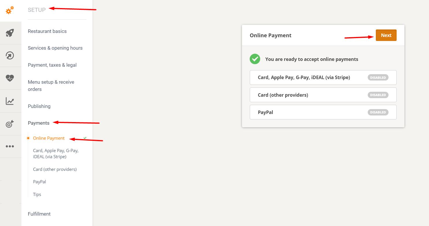 restaurant payment methods: online payment