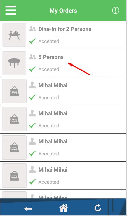 how do restaurant reservations work in the order taking app