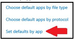 Defaults menu - Choose default apps by file type; Choose default apps by protocol; Set defaults by app