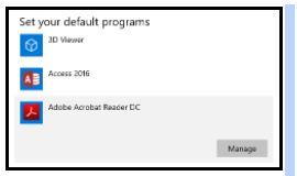 PDF default applications - 3D Viewer, Access 2016, Adobe Acrobat Reader DC