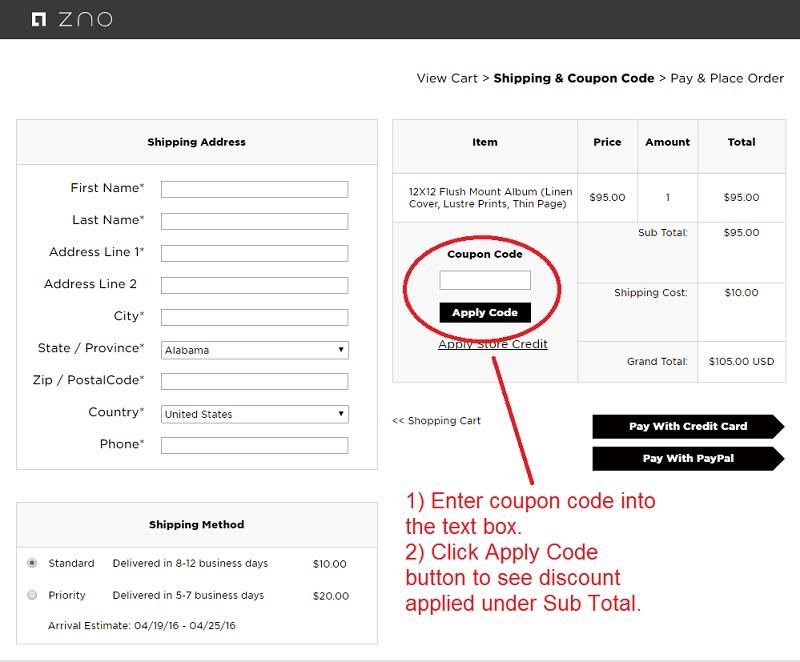 Zno — Where do I enter my coupon code?