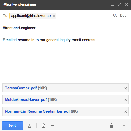 how do i forward candidates to lever via email lever support
