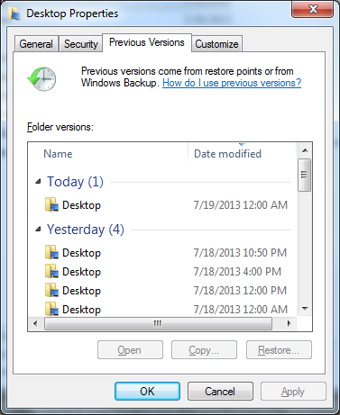 How do I recover a previous version of a file I may have