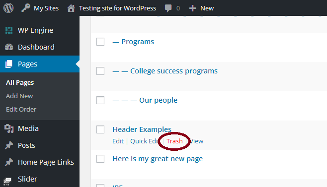 How Do I Delete A Page From My Wordpress Site Caen Knowledge Base