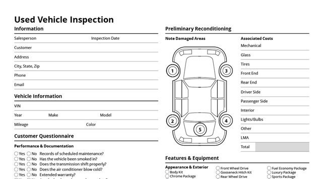 Used Car Buying Checklist >> 28 Used Car Worksheet Detailed Used Car Inspection