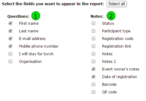 Choose info for report