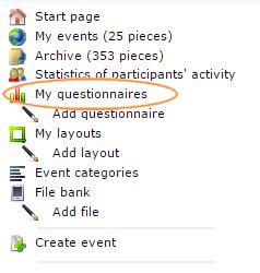 Menu, My questionnaires