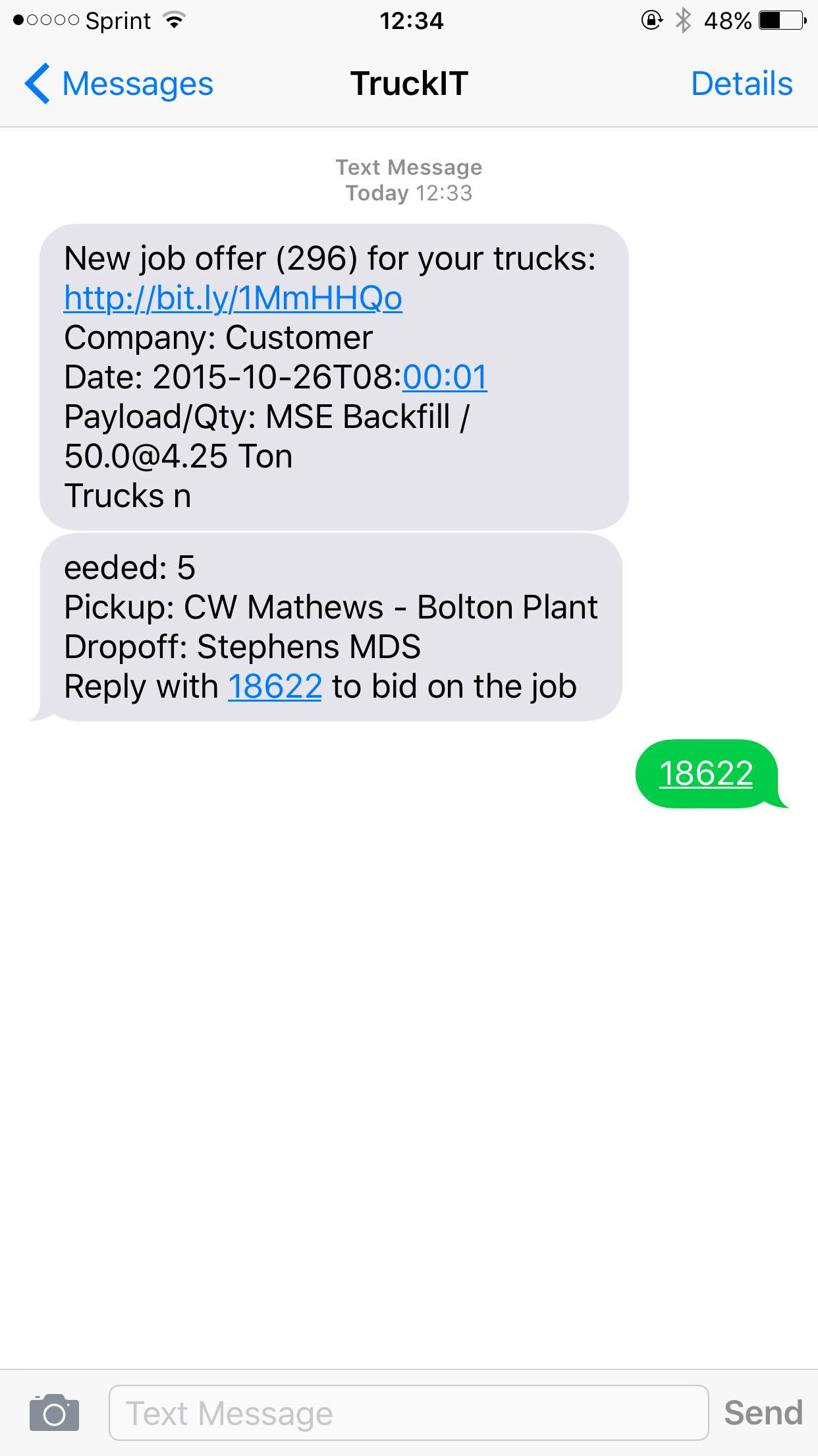 truckit how to bid on a job text after replying the unique code the website responds