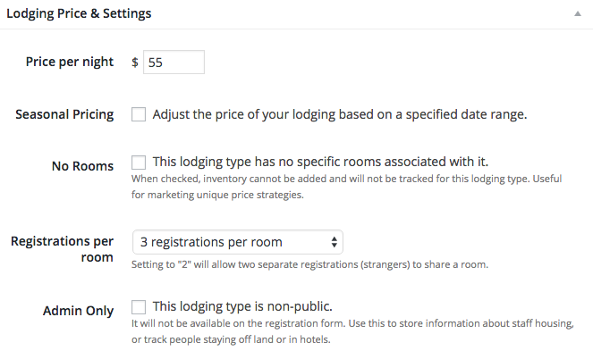 Lodging price & settings