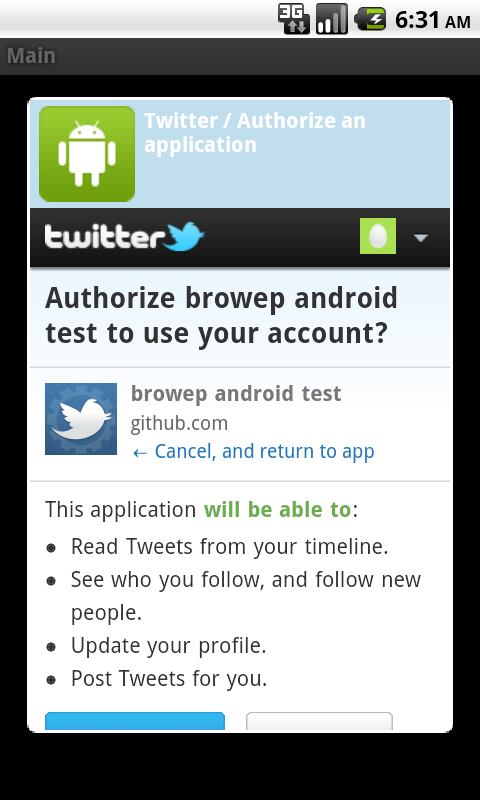 Twitter OAuth integration in an Android app – ResponsiveAndroid