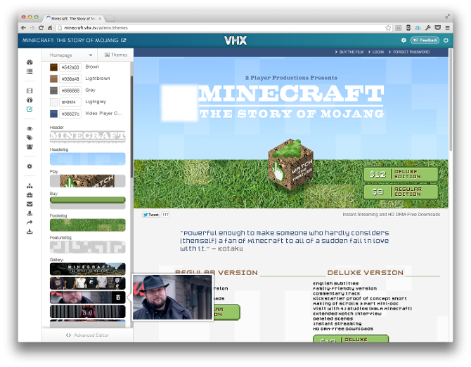 Theme editor for Minecraft: The Story of Mojang