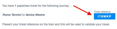 Order details with PNR