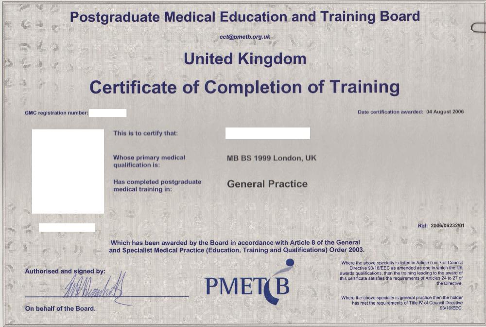 If You Completed Your Training Between September 2005 And March 2010, You  Will Have A PMETB Certificate.  Certificate Of Completion Training