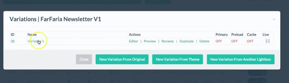 newsletter pop-up variation listed in the Digioh platform
