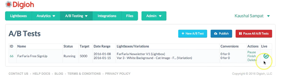 publish your A/B test lightboxes to your website