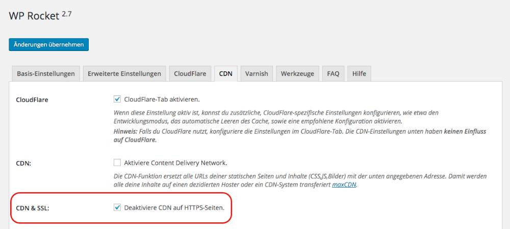 """Einstellungsseite mit Option """"Deaktiviere CDN auf HTTPS-Seiten"""""""