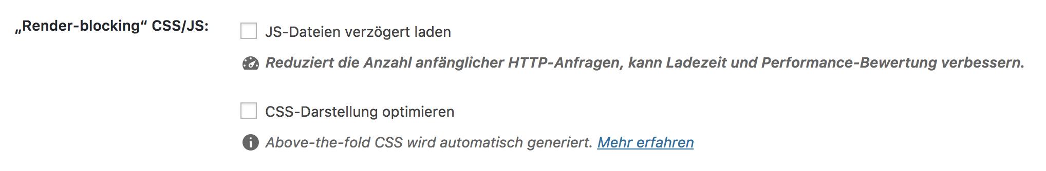 """Optionen """"CSS-Darstellung optimieren"""" und """"JS-Dateien verzögert laden"""""""