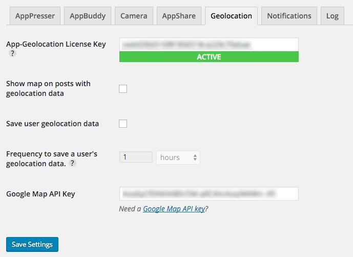 App-Geolocation settings page screenshot