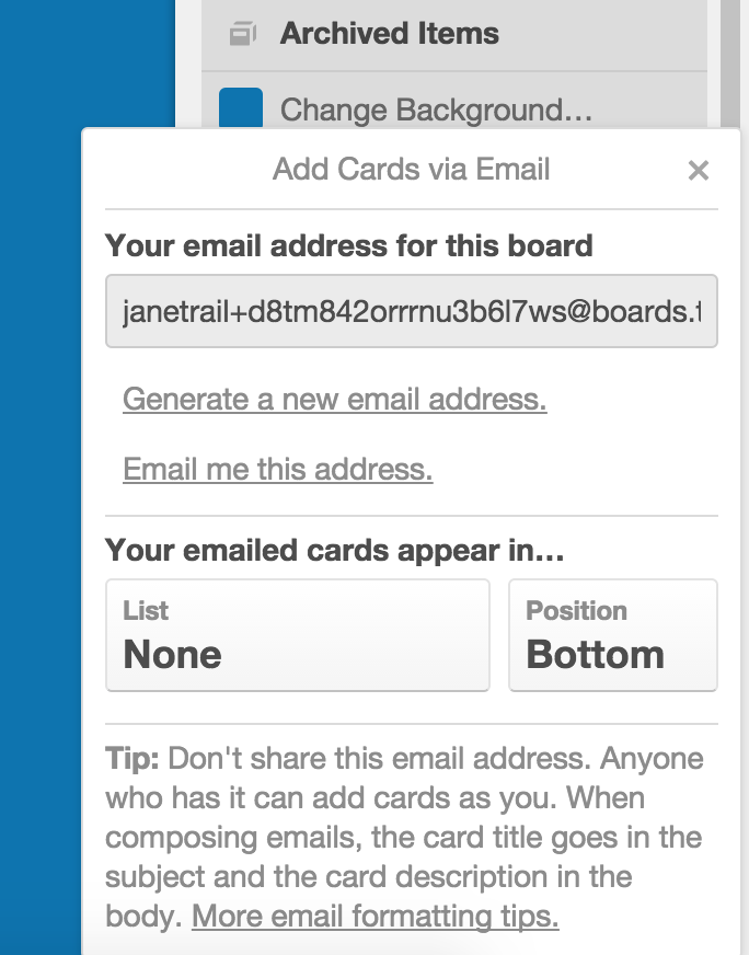 Creating cards by email - Trello Help