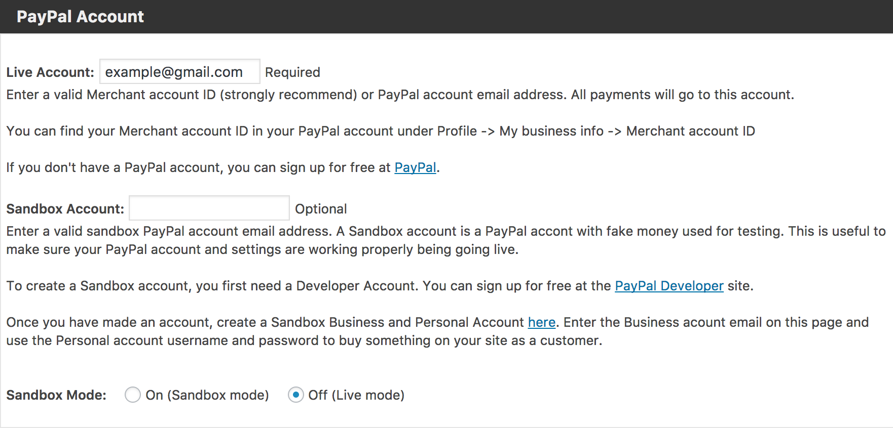 how to use paypal sandbox mode