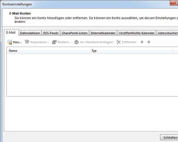 E-Mail-Konten verwalten