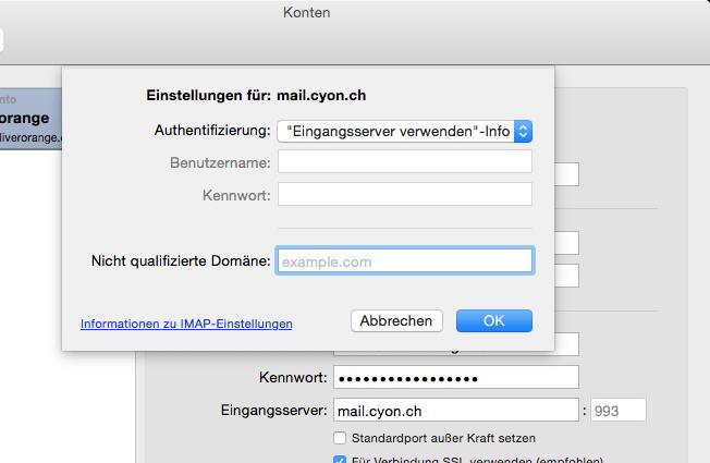 SMTP-Authentifizierung für Ihre E-Mail-Adresse.