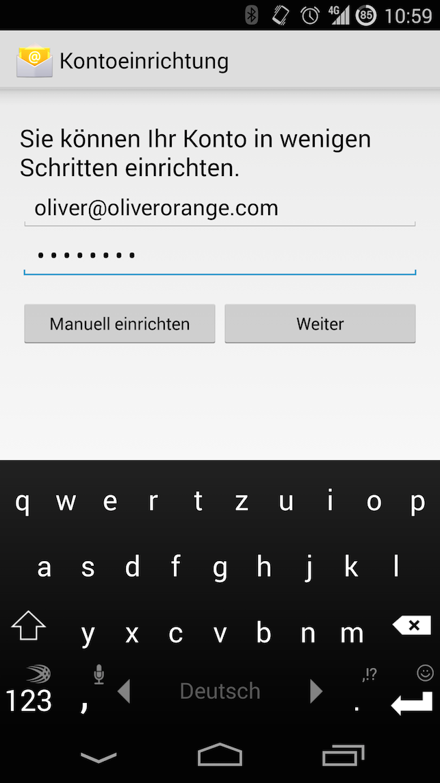 E-Mail-Adresse und Passwort angeben
