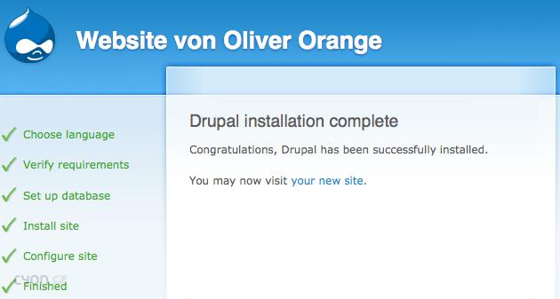 Drupal-Installation erfolgreich abgeschlossen