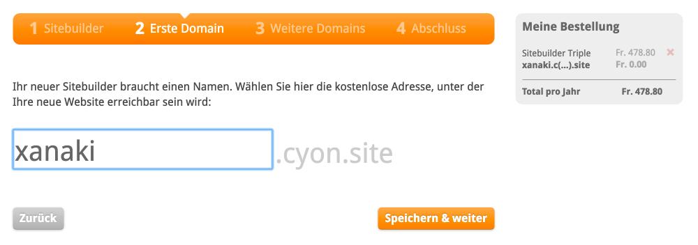 Vorschlag einer Sitebuilder-Adresse