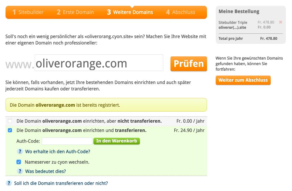 Eine externe Domain einrichten und / oder transferieren