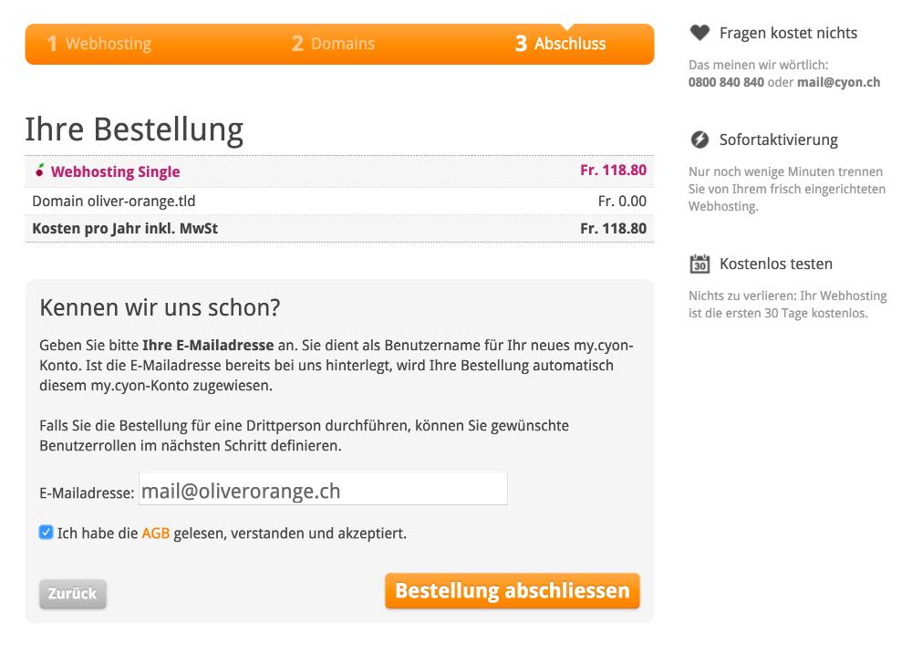 E-Mailadresse angeben
