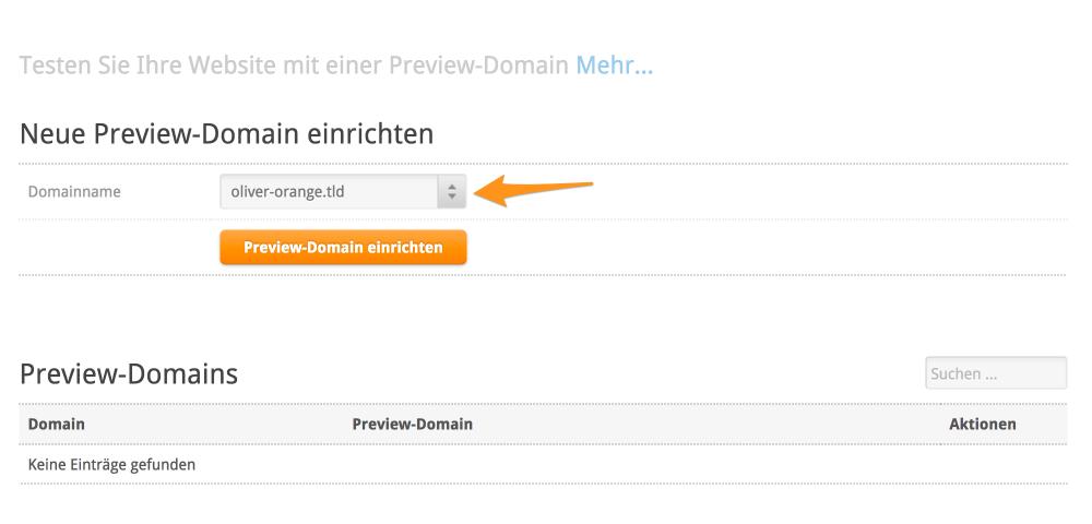 Neue Preview-Domain einrichten