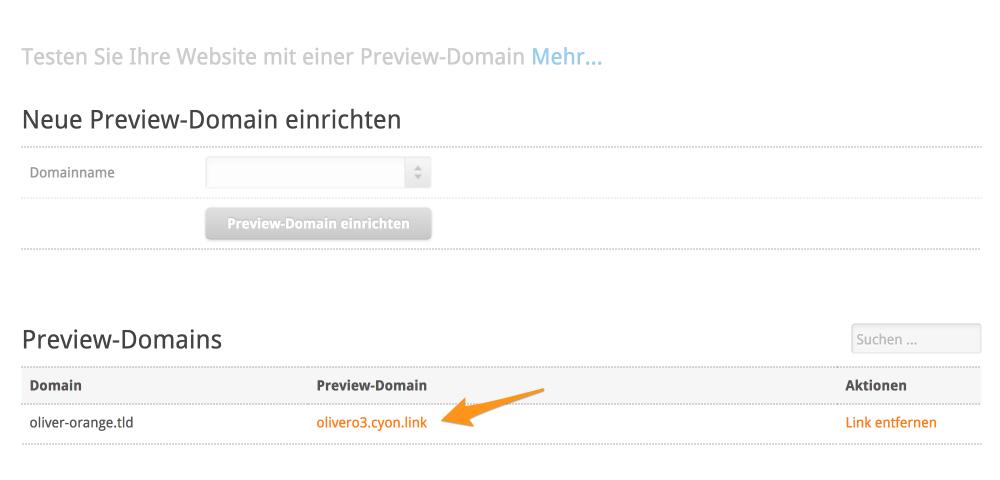 Link zur Preview-Domain