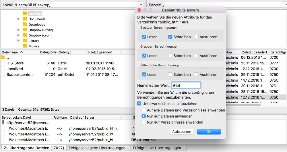 Berechtigungen für Dateien anpassen