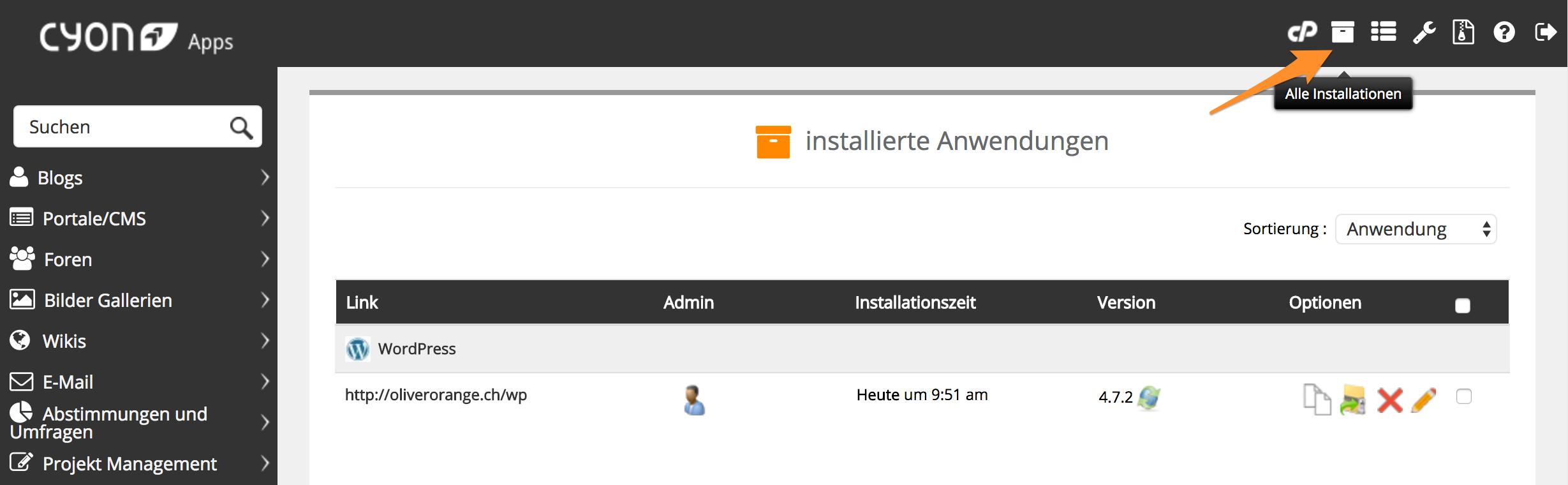 Übersicht der installierten Applikationen