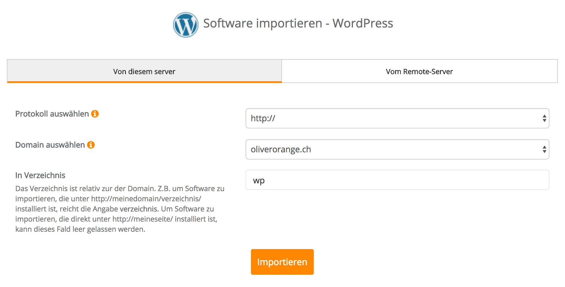 Software importieren