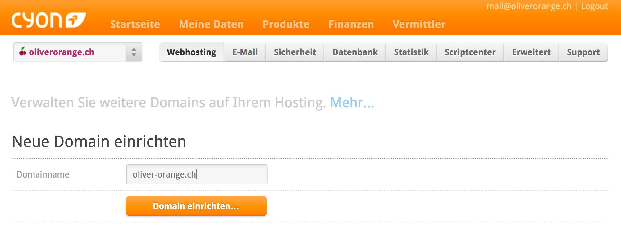 Neue Domain installieren