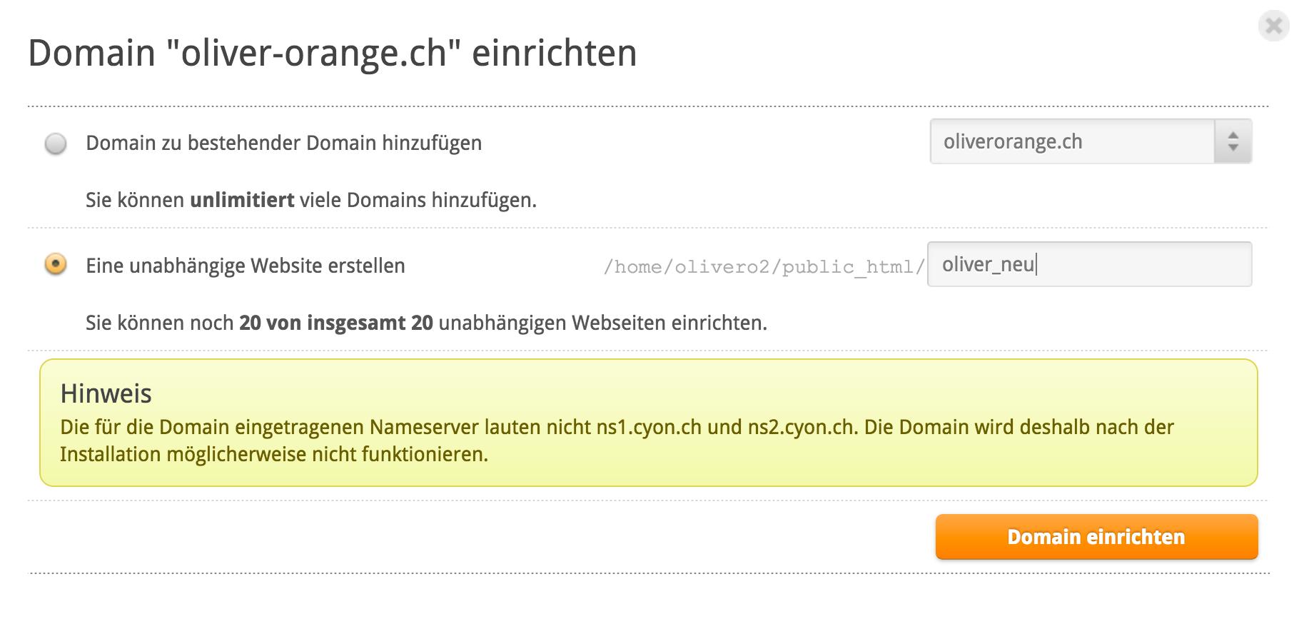 Unabhängige Domain