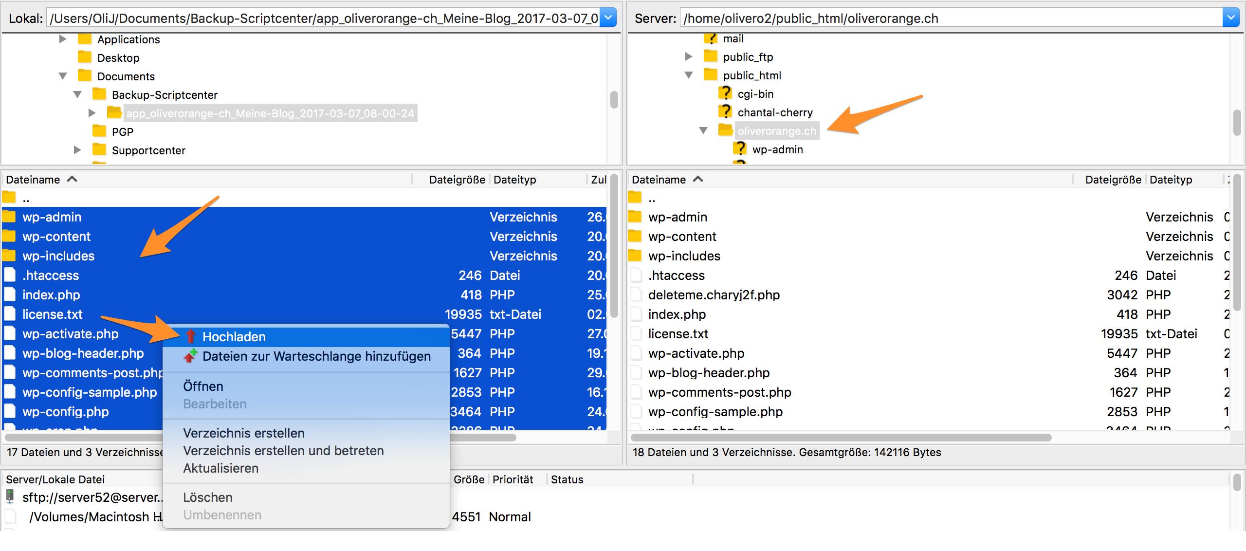 Laden Sie die übrigen Dateien auf Ihr Webhosting