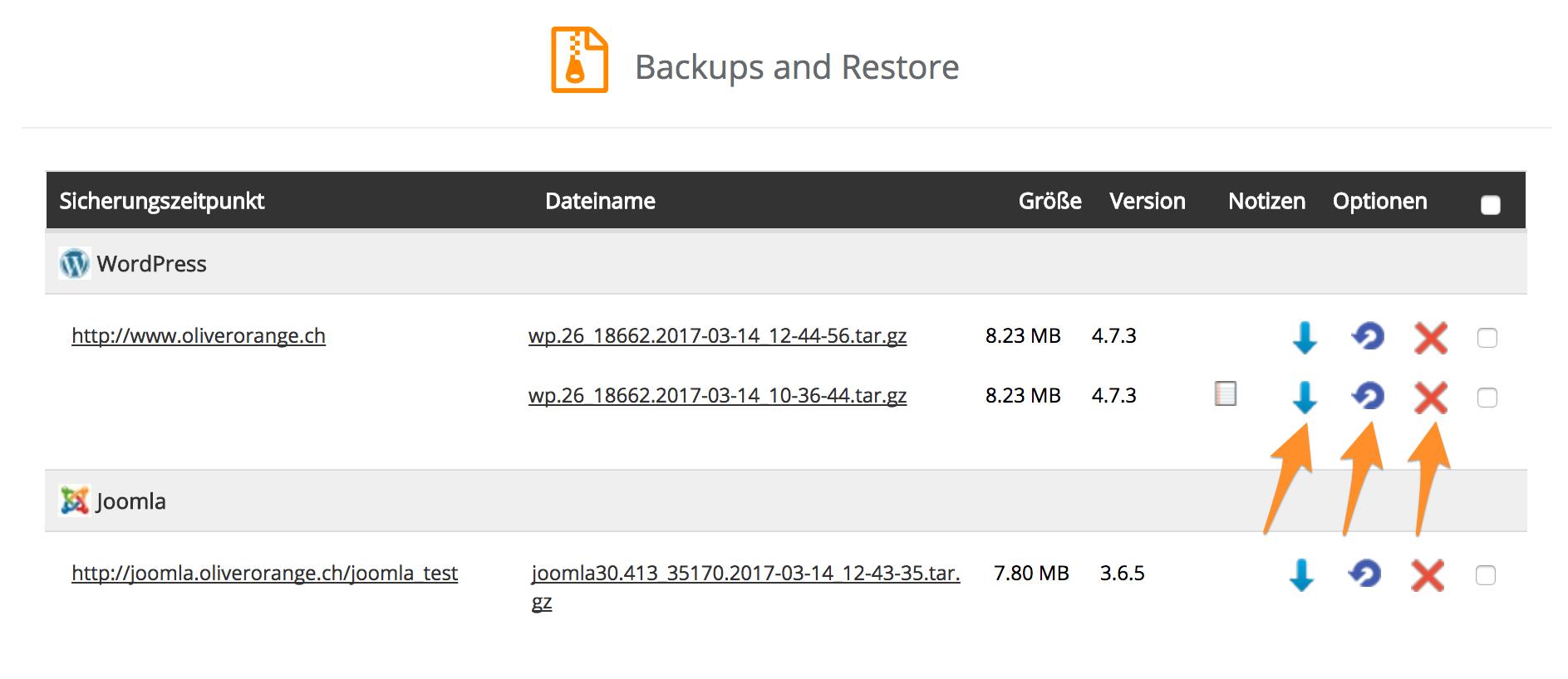 Aktionen zu den vorhandenen Backups