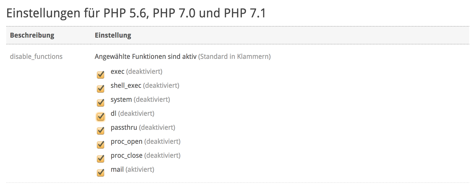 PHP-Einstellungen im my.cyon (disable_functions)