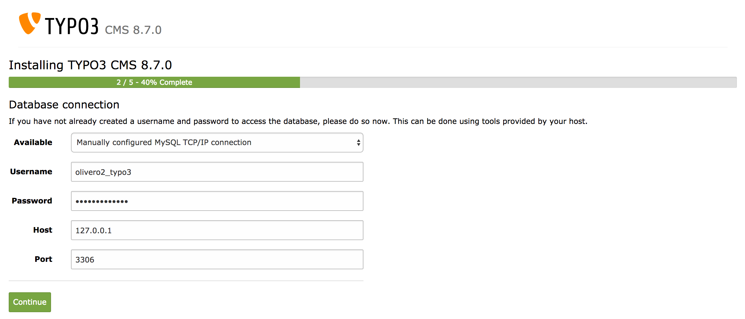 Datenbank Benutzer & Passwort angeben