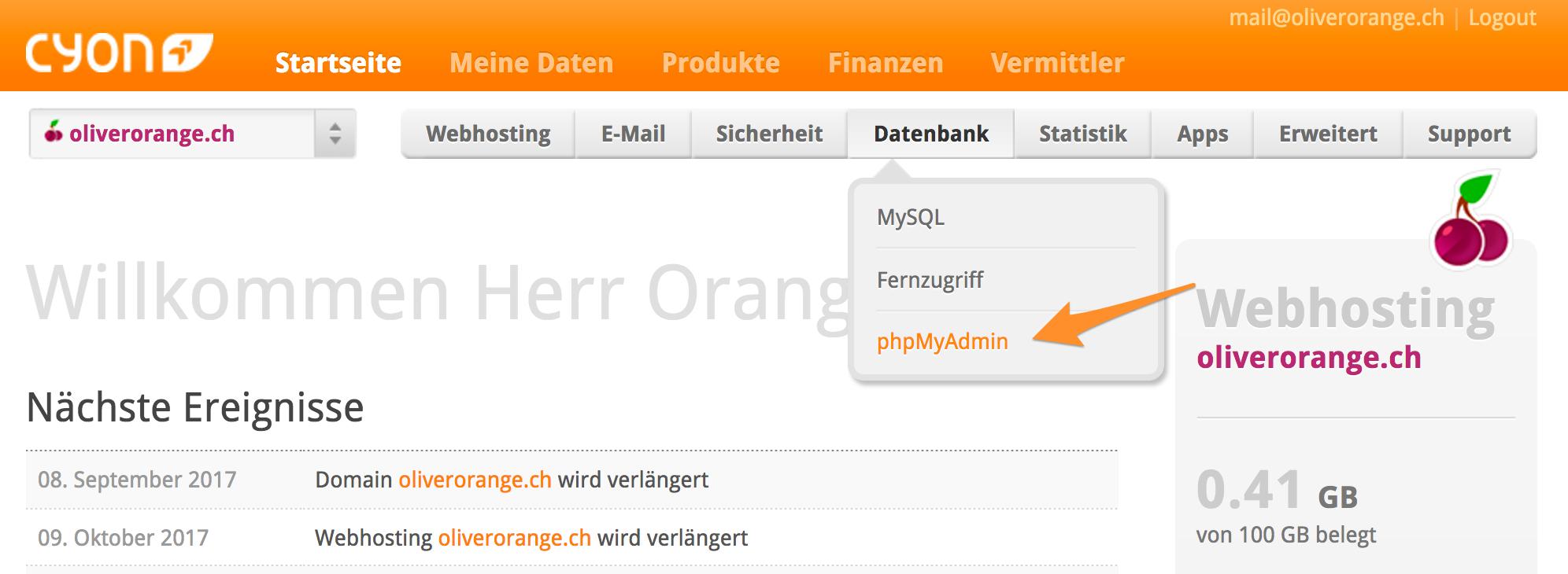 Öffnen Sie «phpMyAdmin» in Ihrem my.cyon-Konto