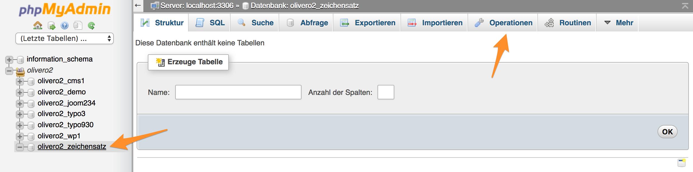 Datenbank wählen im phpMyAdmin