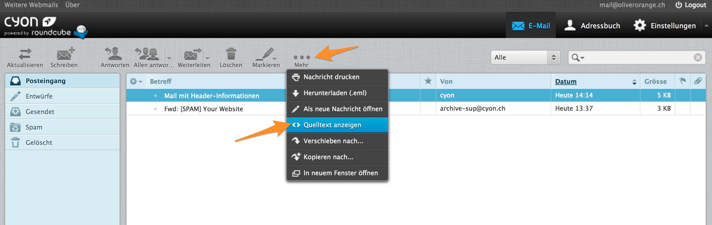 Header-Informationen anzeigen im Webmail.
