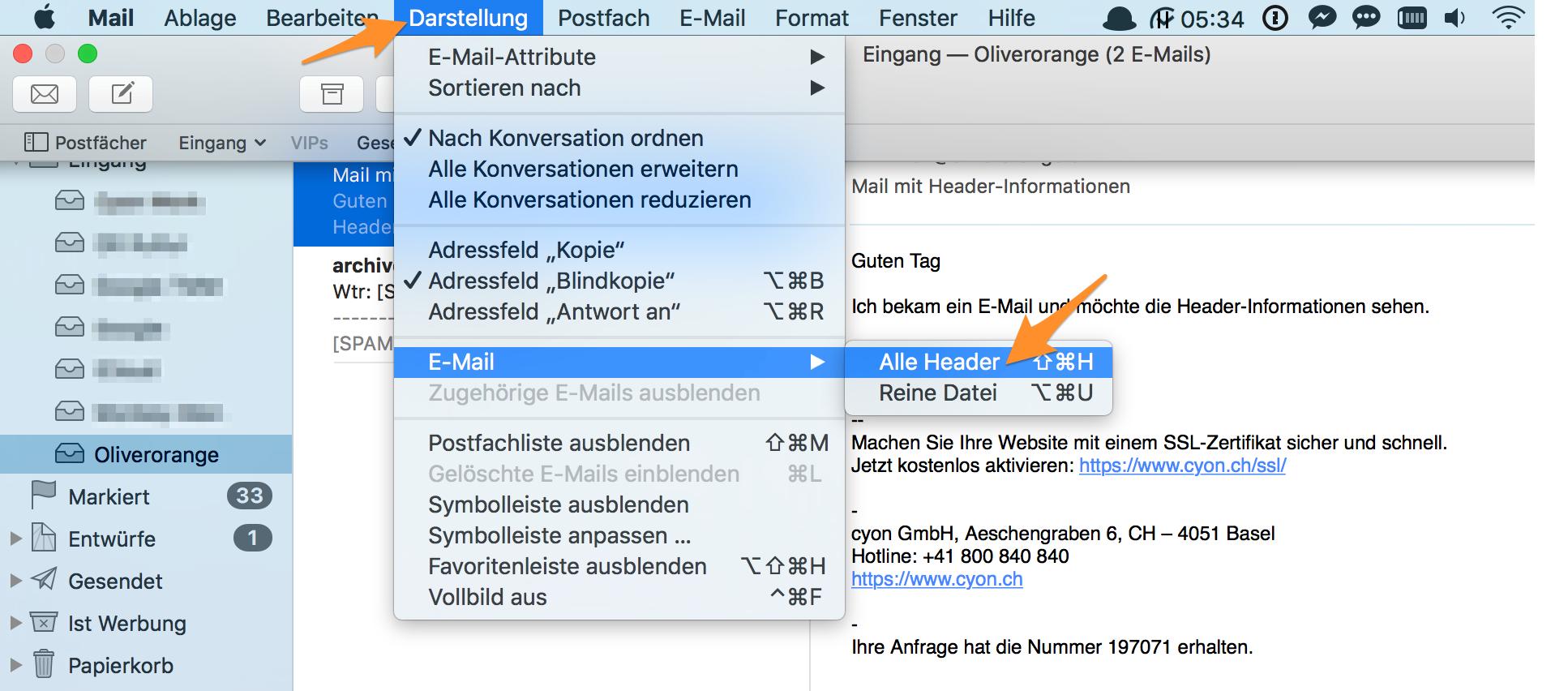Header-Informationen anzeigen im Apple-Mail.