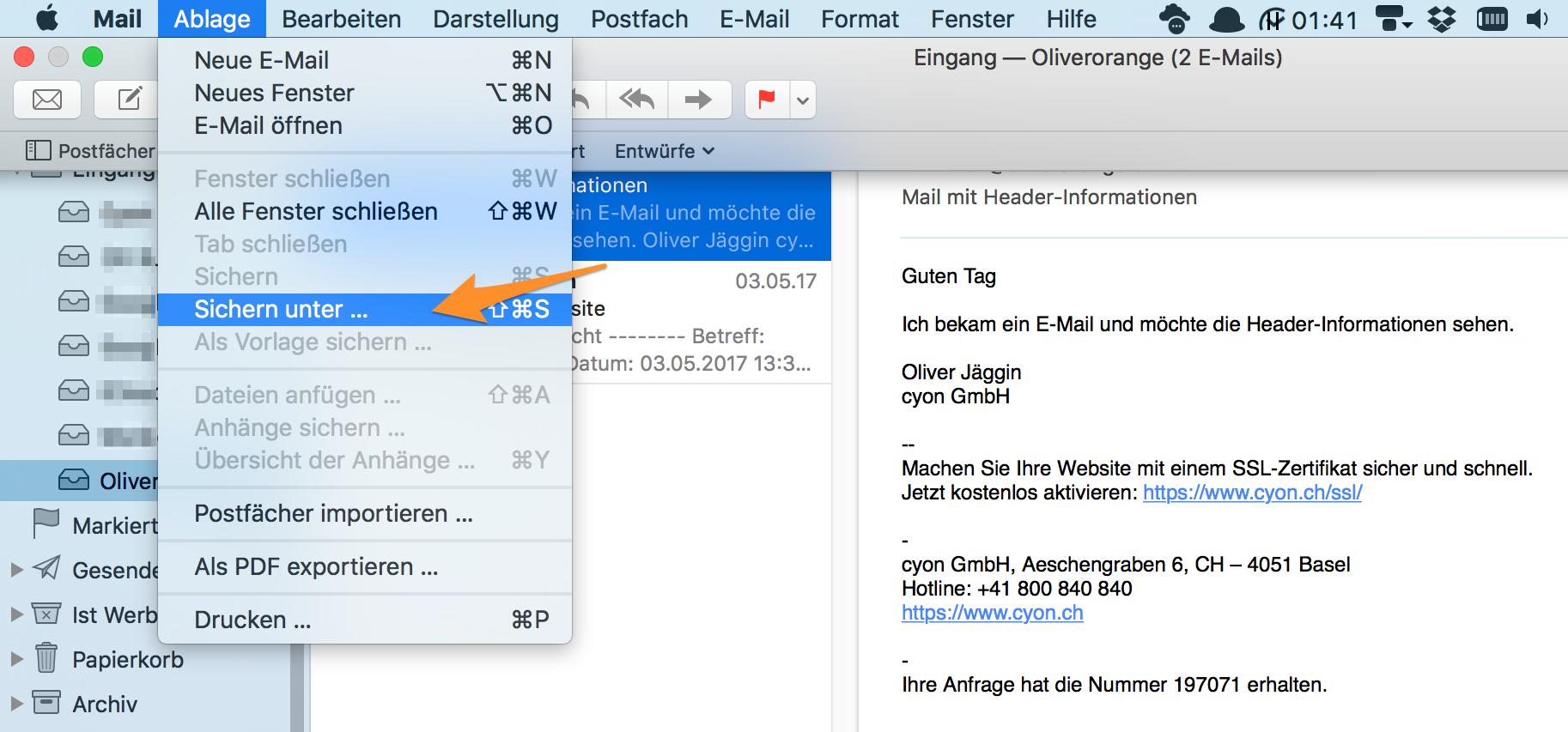 «Sichern unter ...» im Apple-Mail.