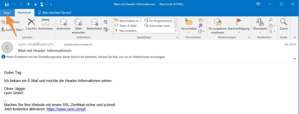 E-Mail mit Doppelklick öffnen.