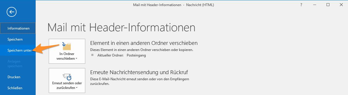 «Speichern unter» im Menü «Datei» der E-Mail-Ansicht.